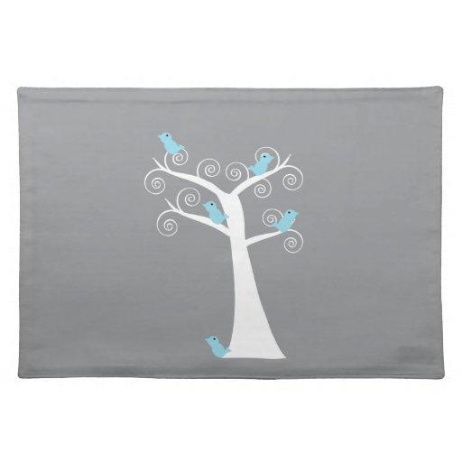 Cinco pájaros azules en un árbol Placemats Mantel Individual