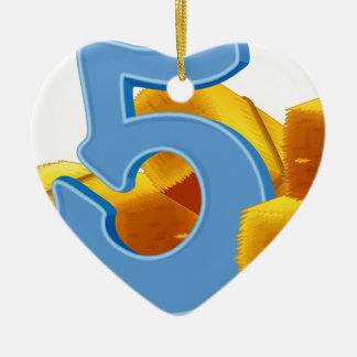 Cinco paquetes de heno adorno navideño de cerámica en forma de corazón