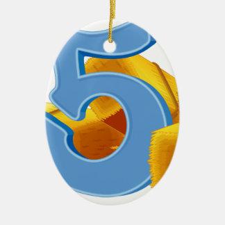 Cinco paquetes de heno adorno navideño ovalado de cerámica