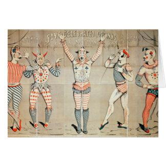 Cinco payasos celebrados atados a las arenas tarjeta de felicitación