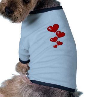 Cinco pedazos de corazones camisa de perrito