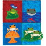 Cinco pequeñas ranas esculturas fotográficas