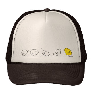 Cinco pequeños pájaros - amarillo gorras de camionero