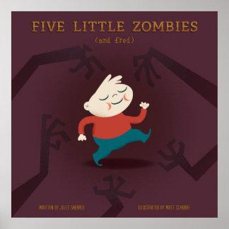 Cinco pequeños zombis y engranaje de Fred Posters