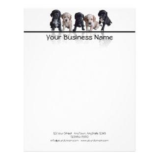 Cinco perritos de cocker spaniel negro y del moren membretes personalizados