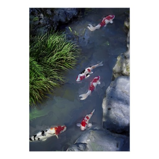 CINCO PESCADOS de KOI de TEMPLO de SANJUSANGENDO - Póster