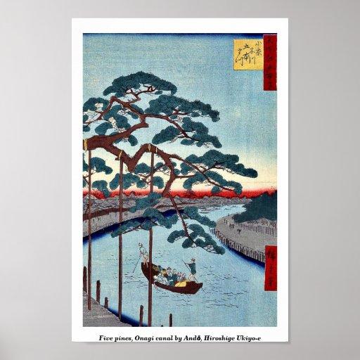 Cinco pinos, canal de Onagi por Andō, Hiroshige Uk Póster