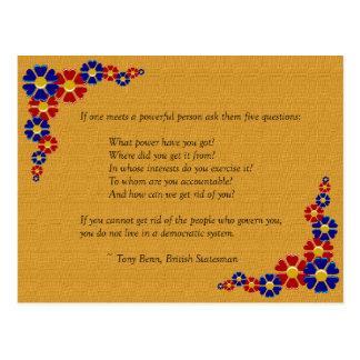 Cinco preguntas a preguntar a una persona potente tarjetas postales