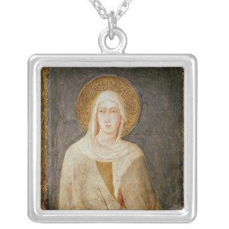 Cinco santos, detalle de St. Clare Colgante Cuadrado