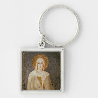 Cinco santos, detalle de St. Clare Llavero Cuadrado Plateado