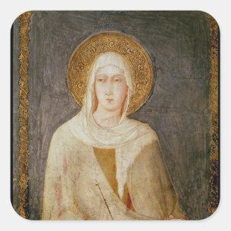 Cinco santos, detalle de St. Clare Pegatina Cuadrada
