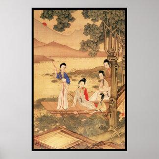 Cinco señoras chinas flotando impresiones