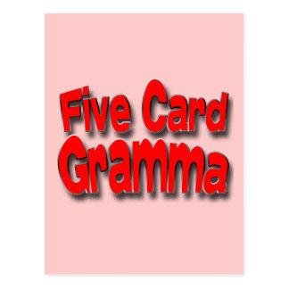 Cinco tarjeta Gramma Postal