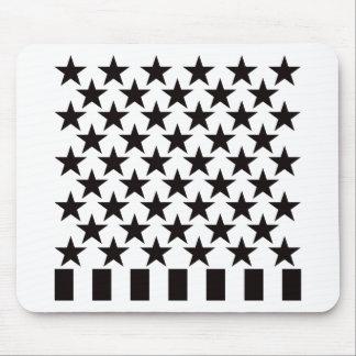 Cincuenta barras y estrellas - negro tapetes de raton
