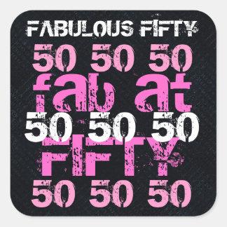 Cincuenta fabulosos fiesta rosado negro de 50 cump pegatina cuadradas