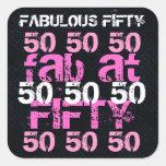 Cincuenta fabulosos fiesta rosado negro de 50 pegatina cuadradas