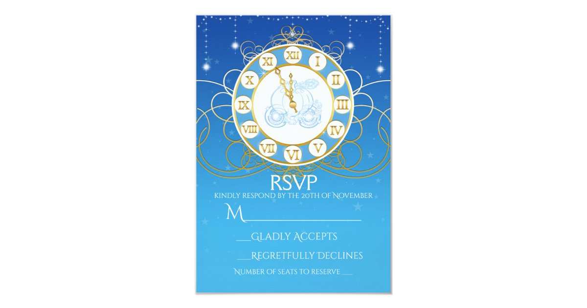 Cinderella Almost Midnight Blue RSVP Card | Zazzle.com