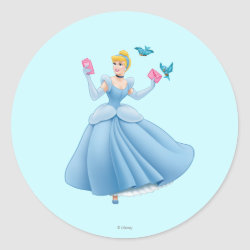 Round Sticker with Dancing Cinderella with Birds design