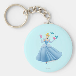 Basic Button Keychain with Dancing Cinderella with Birds design