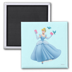 Square Magnet with Dancing Cinderella with Birds design