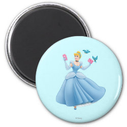 Round Magnet with Dancing Cinderella with Birds design