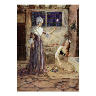 Cinderella and Fairy Godmother - Millicent Sowerby Poster
