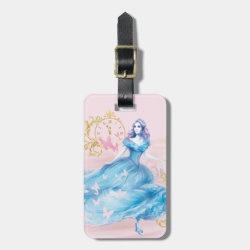 Small Luggage Tag with leather strap with Watercolor Cinderella design