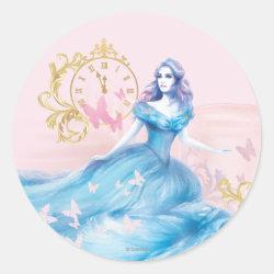 Round Sticker with Watercolor Cinderella design
