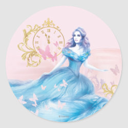Round Sticker with Watercolor Cinderella design