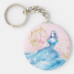 Basic Button Keychain with Watercolor Cinderella design