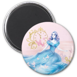 Round Magnet with Watercolor Cinderella design