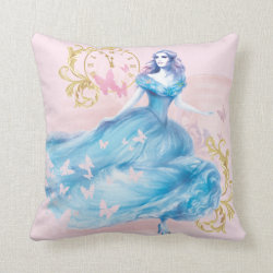 Cotton Throw Pillow with Watercolor Cinderella design