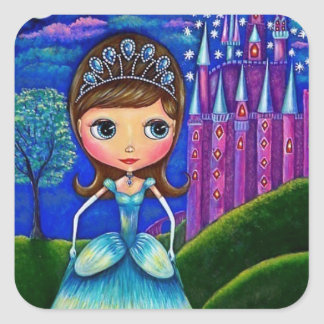 Cinderella at the Castle Tiara Ball Gown Square Sticker