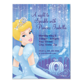 Cinderella Birthday Invitation 4.25