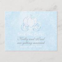 Cinderella Blue Carriage Fairytale Postcard