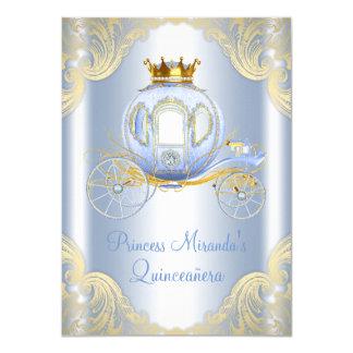 Cinderella Blue Gold Princess Quinceanera Card