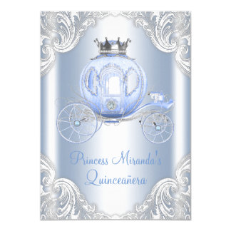 Cinderella Blue Silver Princess Quinceanera Card