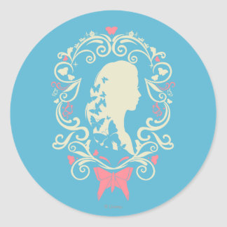 Cinderella Butterfly Cameo Classic Round Sticker