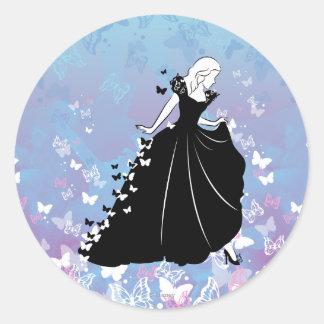 Cinderella Butterfly Dress Silhouette 2 Classic Round Sticker