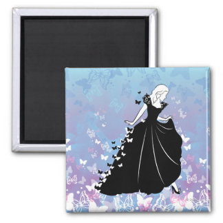 Cinderella Butterfly Dress Silhouette 2 Magnet