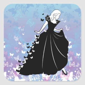 Cinderella Butterfly Dress Silhouette 2 Square Sticker