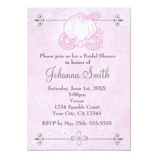 Cinderella Carriage Pink Bridal Shower Invitation