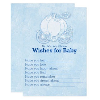 Cinderella Carriage Wishes for Baby Shower Game Card