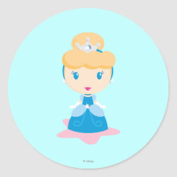 Round Sticker with Kawaii Cinderella design
