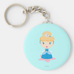 Basic Button Keychain with Kawaii Cinderella design