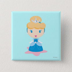 Square Button with Kawaii Cinderella design