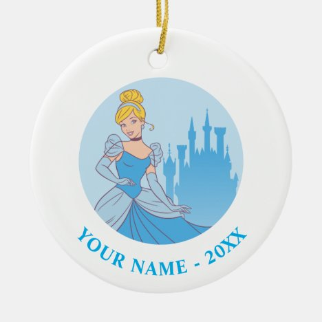Cinderella & Castle Graphic Ceramic Ornament