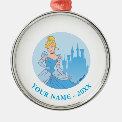 Cinderella & Castle Graphic Metal Ornament