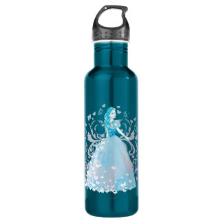 Cinderella Fanciful Butterfly Flourish Stainless Steel Water Bottle
