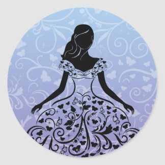 Cinderella Fanciful Dress Silhouette Classic Round Sticker